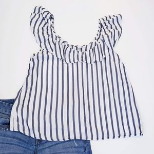 Old Navy Flowy Ruffle Striped Top Size Large